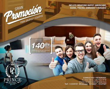 Disfruta de la experiencia  Prince Hotel ,   porque los mejores momentos es entre amigos, esta promoción grupal es para ti.